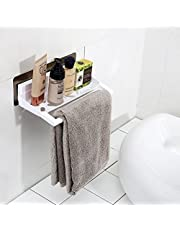 MeRaYo Plastic Multi Function Self Adhesive Wall Mounted Napkin/Towel Holder with Toiletry Rack/Shelf For Bathroom and Kitchen - 22X11.5X7.5 CM