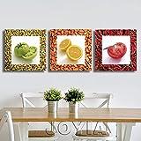 3 pezzi di frutta e verdura condimento su tela quadri murali quadri dipinti moderni stampe per cucina complementi arredo casa senza cornice-40x40cmx3 senza cornice