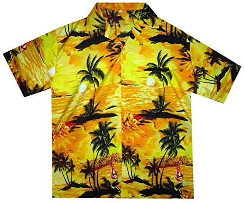 Original King Kameha | Funky Hawaiihemd | Herren | XS - 12XL | Kurzarm | Front-Tasche | Hawaii-Print | Surf Palmen Meer | Gelb Gelb