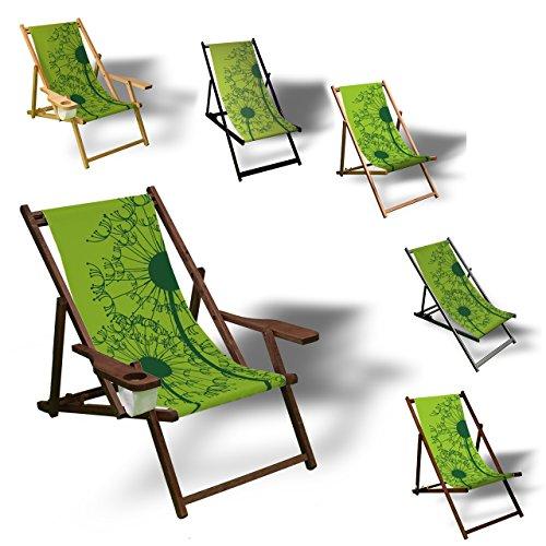 Printalio Pusteblume Grün - Liegestuhl Bedruckt Balkon Garten Sonnenliege Relax Holz Terrasse | mit...