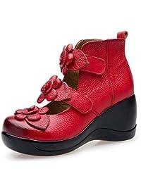 Onfly Pompe Talons compensés Plate-forme épaisse Chaussures décontractées Dames Cuir véritable Confortable Respirant Round Toe Fleur Velcro Talons moyens Des sandales Eu Taille 35-40