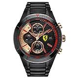 Hombre-Reloj Scuderia Ferrari Orologi Chrono Cuarzo analógico Rojo Rev EVO con Revestimiento de Acero 0830305