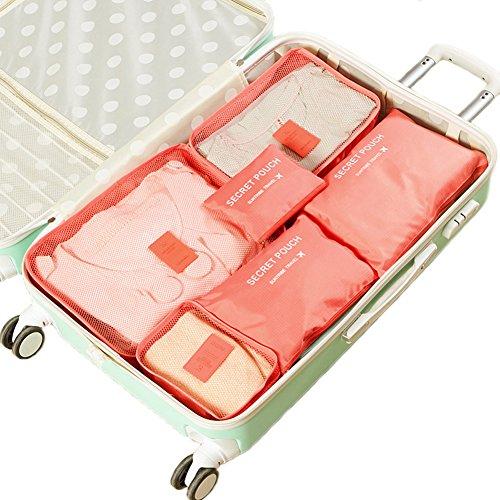 Kleidertaschen-Set 6-teilig IHRKleid® Reisetasche in Koffer Wäschebeutel Schuhbeutel Kosmetik Aufbewahrungstasche Farbwahl (Rot) (Beauty-cube-make-up Veranstalter)