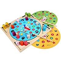 Fish Wooden 3 IN 1 Magnetic Fishing Toys Set Fish Game Educational Fishing Toy Magnetic Bath Fishing Travel Table Toy Halloween Christmas Birthday Gift for Girl Boy Learning Education