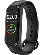 Vivo V9Pro Compatible with M4 Waterproof Fitness Screen Tracker/Health Bracelet/Smart Watch for Men/Activity Tracker/Bracelet Watch for Men/Smart Fitness Band/BP Monito/Heart Rate Monitor Black