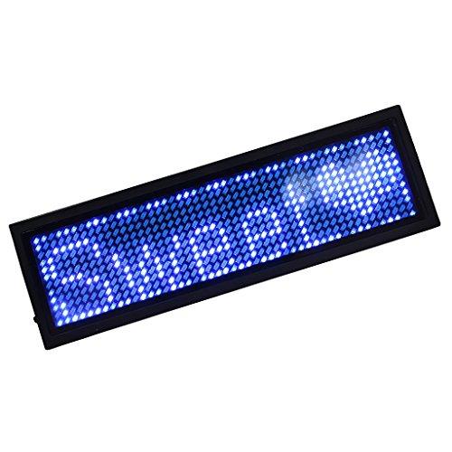 MagiDeal Digital Namensschilder, LED-Namensschild Wiederaufladbare Büro Leuchtschild, Programmierung Digital Sign - blau