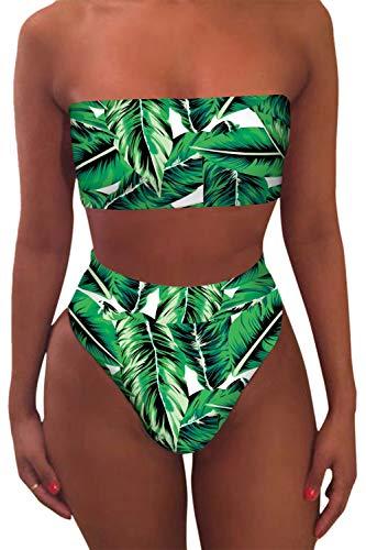 Viottiset Bandeau Top Damen Bikini Set High Waist Badeanzug mit Abnehmbare Träger L Pflanzen Drucken