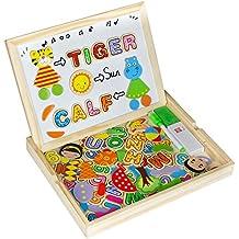 Rompecabezas Madera Juguete Educativo Madera Puzzle3Años Bebe y PizarraBlanca Magnética Doble Cara Juguetes Magneticos Juego de Madera Regalos de NavidadparaNiños 3+