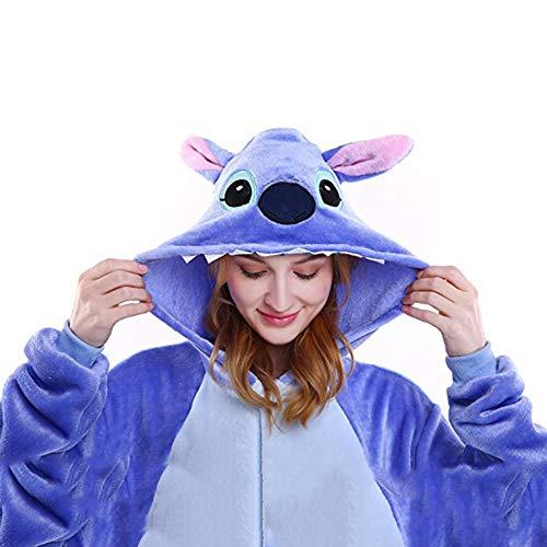 Costumes Unisexe Kigurumi Lilo & Stitch Onesie Le Pyjama Film Adulte Ados Cadeau De Noël (Blue, M)