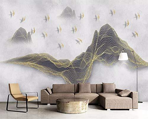 1290 Tinte (ADDFLOWER Chinesische Tapete Linien Goldener Vogel Landschaft Tinte Tv Hintergrund Wand Wohnzimmer Schlafzimmer Dekoration 3D Wallpaper, 200X140 Cm (78,7 Von 55,1 In))