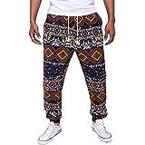 Vertvie Homme Pantalon de Sport Sarouel Pantalon Casual Imrpimé Style Ethnique Hip-hop pour Fitness Jogging Motif 1 L(XL sur l'étiquette)