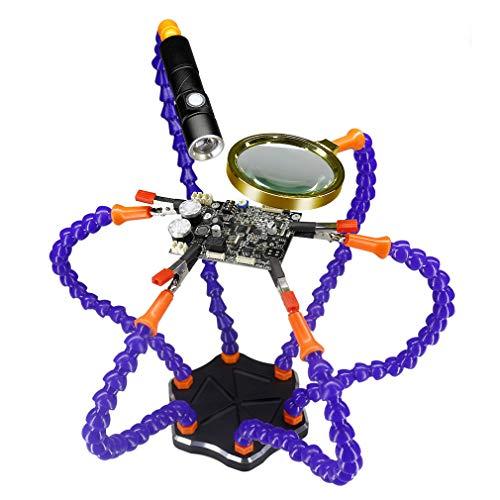 Lötstation, helfende Hände, flexibler, helfender Dritter Hände 6 Arme mit Lupe und Taschenlampe, rutschfeste Aluminiumbasis, um 360 Grad schwenkbare Clips