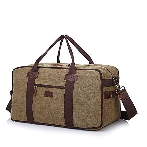 Weimi Vintage 57CM Canvas Weekender Herren Handgepäck Reisetasche Tasche (Khaki)
