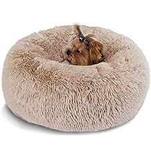 Hianiquaime® Cama para Mascotas Deluxe Plush Redonda de Pelo Nido de Donut con Cojín Perro