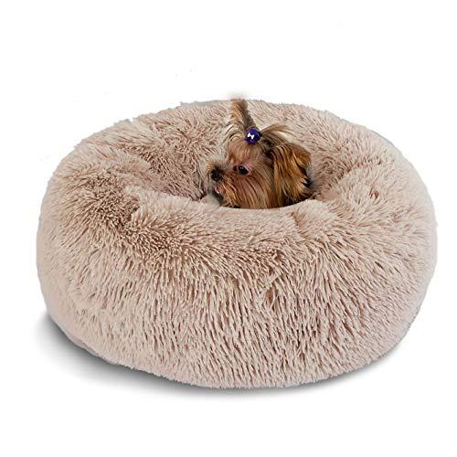 Hianiquaime Weich Warm Langes Plüsch Haustierbett Donut Form Hund Katze Rund Bett Braun 70 cm -