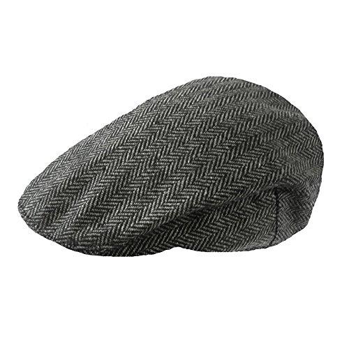 Herren Kariert Wollmischung Tweedkappe Flach (Herren Tweed)