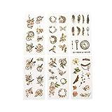 CAOLATOR 6 Blatt Mädchen Aufkleber mit Blumen und Federn Muster, Vintage Kinder Stickers aus Papier für Scrapbooking Stickerbuch Tagebuch Fotoalbum Notizbuch Kalender Dekoration