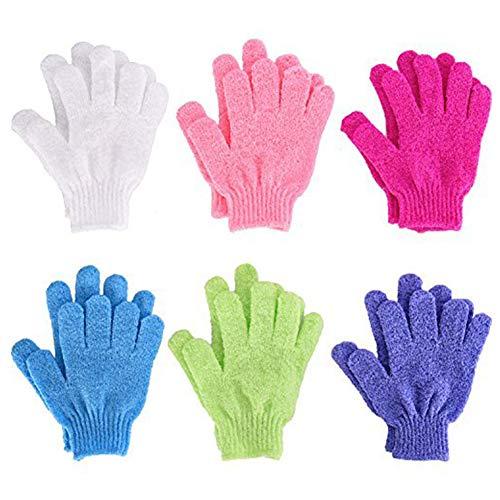 DDG EDMMS 6 Paar Bad Wäscher Handschuhe doppelseitigen Peeling Handschuhe Körperwaschhandschuhe Bad scheuern gelegentlicher Farbe Haushaltswaren