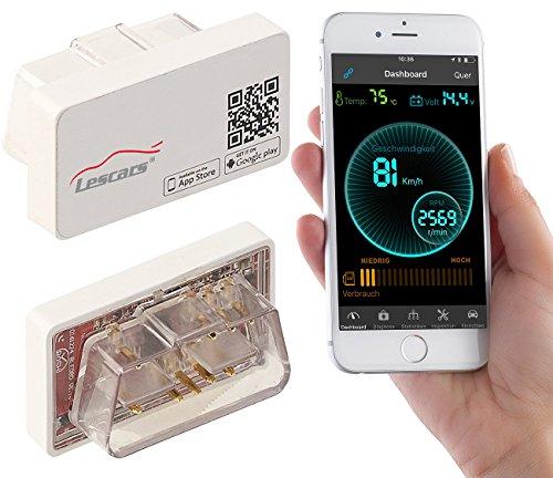 Lescars OBD Stecker: OBD2-Profi-Adapter, Bluetooth, App für Android & iOS, Streckenrekorder (OBD2 Kfz Adapter für iPhones iPads)