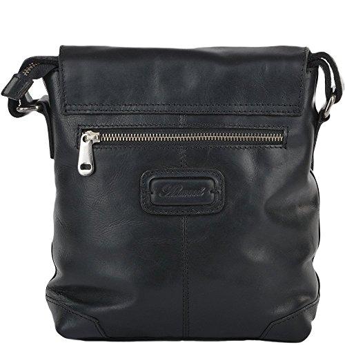 Ashwood Mens Ashwood 3 Tasche Luxus Kleine Flug Ledertasche Black