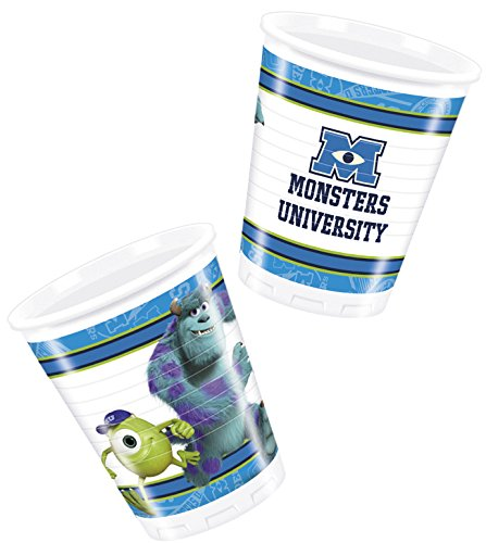 procos-81594-bicchieri-plastica-monsters-university-200-ml-8-pezzi-azzurro-verde