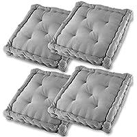 Gräfenstayn® Set de 4 Cojines, Cojines para Silla de 40 x 40 x 9 cm para Interior y Exterior de 100% algodón cojín Acolchado/cojín para el Suelo (Gris)