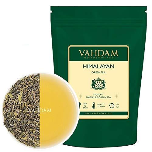 Grüne Teeblätter aus dem Himalaya (100+ Tassen), 100{5e1c35c67ef388e371bbc536792c3f050f86f4ab4cc5b4e268c5211e633d2eb2} Natürlicher Loser Detox Blättertee, Gewichtsverlust, Abnehm-Tee, Kraftvolle Natürliche Antioxidantien von Hochgelegenen Plantagen, 255g