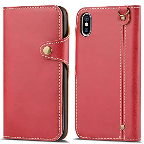 Coque iPhone X Rouge, HOHONG® iPhone X Étui luxe Housse Coque Portefeuille / Avec des fentes de cartes Housse Cuir pour iPhone X (Ten)