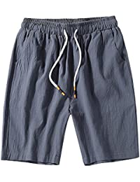 GladiolusA Cargo Bermudas Hombre Pantalones Cortos De Playa Deportivos Chinos Pantalon Lino Cintura Elástica Tamaño Grande