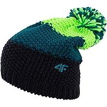Gorro de punto 4F cam011Gorro de pompón para hombre |–Gorro de invierno con pompón y forro polar interior | pompón de banda (,), color verde, tamaño small/medium