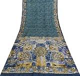 Vintage Tissue Organza Seide Grau Saree Indische
