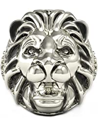 Lion Head Silver Ring for Man Animals Biker Ring Best Gift for Father Boy Friends Free Size