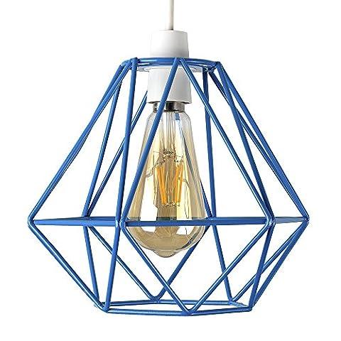 Retro Style Blue Metal Basket Cage Ceiling Pendant Light Shade