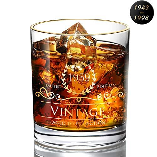 DesBerry 60. Geburtstags- / Jubiläumsgeschenke WhiskyGläser, Tumbler Glas Whiskyglas whiskybecher Kristallglas mit Gedruckt Jahreszahl 1959 Männergeschenke Geburtstagsgeschenke