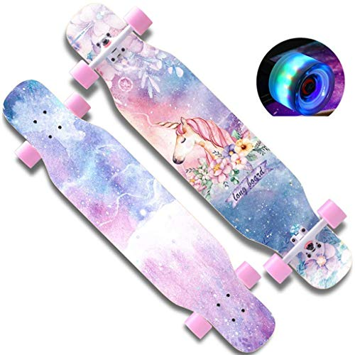 NMDD Skateboard Pro Komplettes Skateboard 7 Lagen Ahorn Longboard Deck Mit PU Flash Rollen Erwachsene Tricks Skateboard Teen Pinsel Street Dance Board Anfänger Vierrädriger Roller (Farbe: A)
