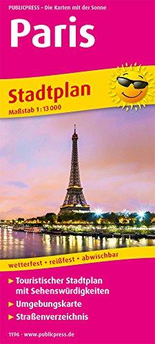 Paris: Touristischer Stadtplan mit Sehenswürdigkeiten und Straßenverzeichnis. 13.000 (Stadtplan / SP)