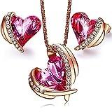 CDE - Collar de oro rosa de 18 quilates con colgante de corazón y cristales de Swarovski, para mujer, regalo para el Día de San Valentín, Día de la Madre