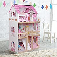 Kids Wooden Dollhouse Dolls House With 17PCS Furnitures Couture Dolls House