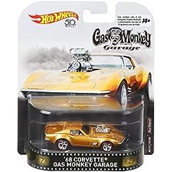 Hot Wheels Modelo Metal Corvette 1968 de Gas Monkey Garage 7cm Escala 1/64 Original FLD15