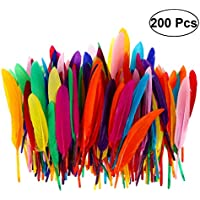 OUNONA - 200 plumas de ganso de color natural para manualidades, bodas, fiestas en casa, atrapasueños, pendientes (color al azar)