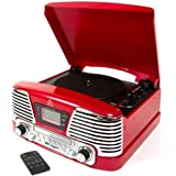 GPO Memphis Record Player / Turntable | Portable, Retro Design Vinyl Player With Built In CDs Player And FM Radio (Red)