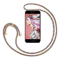 """ZhinkArts Handykette kompatibel mit Apple iPhone 7 / iPhone 8-4,7"""" Display - Smartphone Necklace Hülle mit Band - Schnur mit Case zum umhängen in Rainbow"""