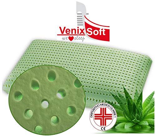 VENIXSOFT cuscino per letto memory foam ortopedici anti cervicale , Anti Soffoco, Terapeutico, linfa DI ALOE VERA rilassante e riposante. MASSIMA TRASPIRAZIONE-DISPOSITIVO MEDICO CLASSE I-Fodera cotone. Made in Italy