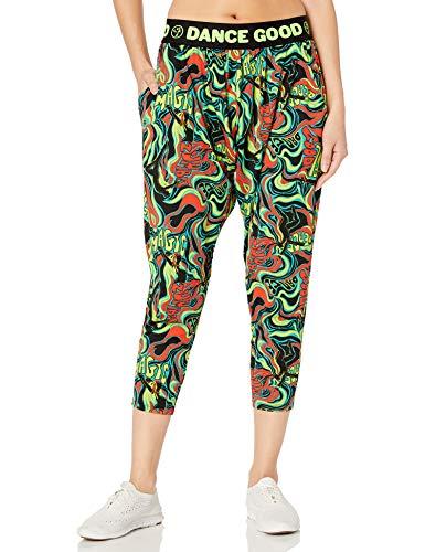 Zumba Fitness Damen Women's Soft Breathable Activewear Harem Capri Workout Pants Trousers, Teal Me Everything, L (Womens Plus Größe Kleidung Capris)