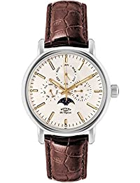 Rotary Men's Quartz Watch with White Dial Chronograph Display and Brown Leather Strap GS90135/32