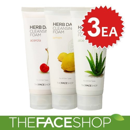 The Face Shop Herb Tag 365Reinigungsschaum, 3-teiligesSet (Aloe, Acerola, Zitrone) - Face Shop-herb