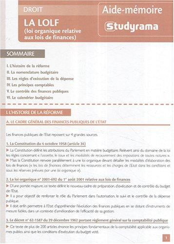 La LOLF (loi organique relative aux lois de finances)