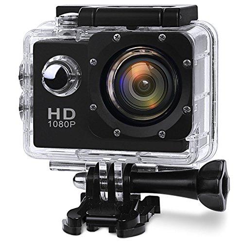 """La Dernière Action Camera - SAVFY® - Caméra sport / Caméra embarquée Wi-Fi Haute Définition Full HD 1080P Enregistreur Vidéo Numérique DVR Camcorder, 12 Mega Pixel, 170 ° HD Grand-Angle, Grand 2.0"""" LCD, étanche 30M avec le Boîtier Etanche Supports Multiples + 26 ACCESSOIRES OFFERTS (inclus 2 batteries & chargeur), Noir"""