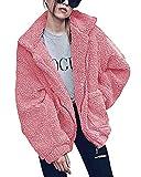 Shallgood Damen Mantel Plüschjacke Winter Winterjacke Steppjacke Warmen Outwear Reißverschluss Lange Ärmel Einfarbig Sexy Parka Pink DE 44
