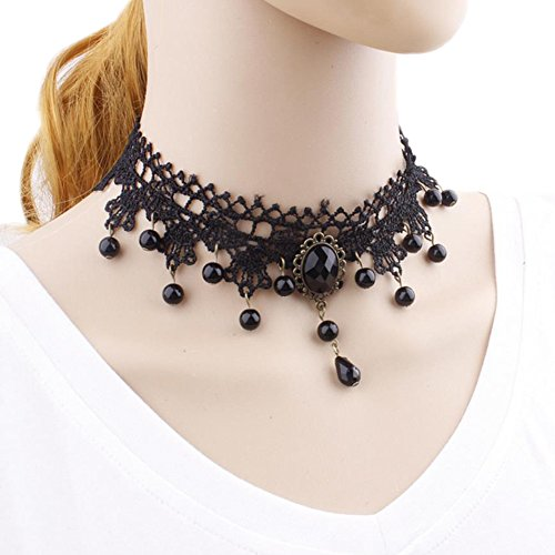 Namgiy Gargantilla de encaje gótico collar tatuaje elástico gargantilla borla falsa collar para mujeres niñas fiesta regalo de boda